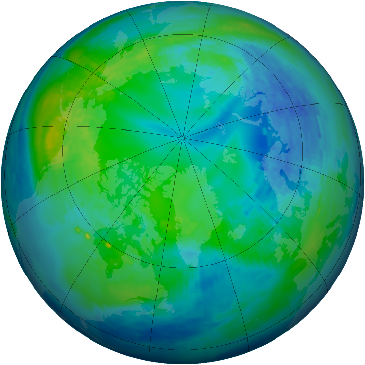 Arctic ozone map for 26 October 1994