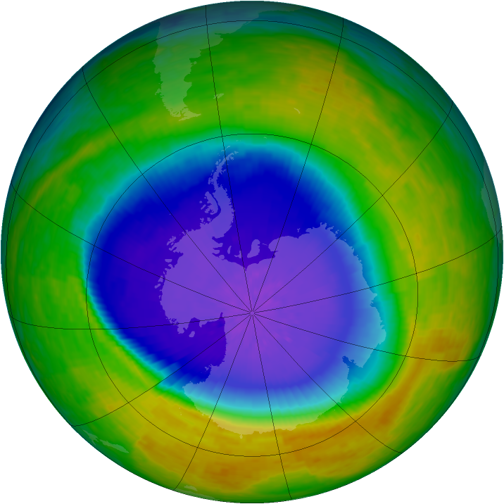 Antarctic ozone map for 29 October 1994