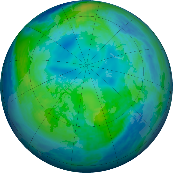 Arctic ozone map for 30 October 1994