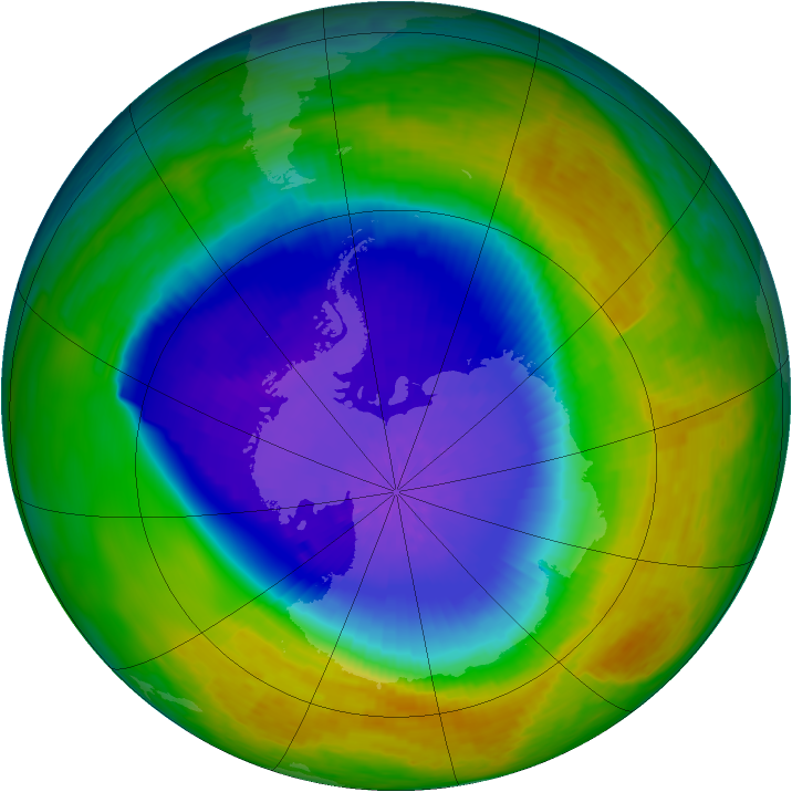 Antarctic ozone map for 30 October 1994
