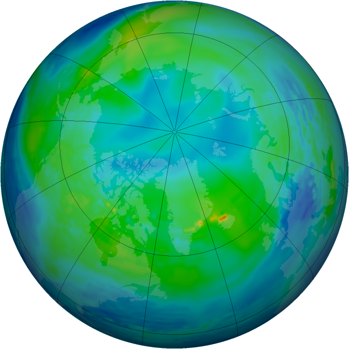 Arctic ozone map for 31 October 1994