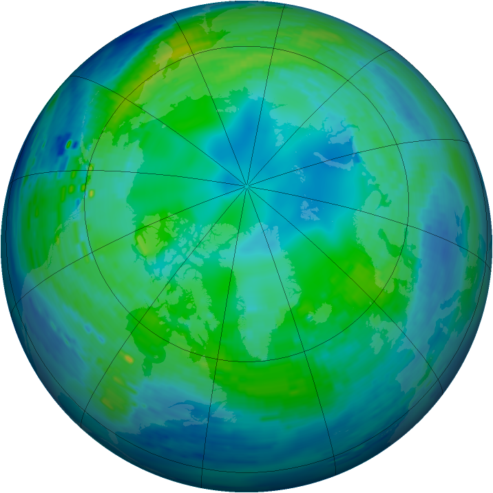 Arctic ozone map for 01 November 1994