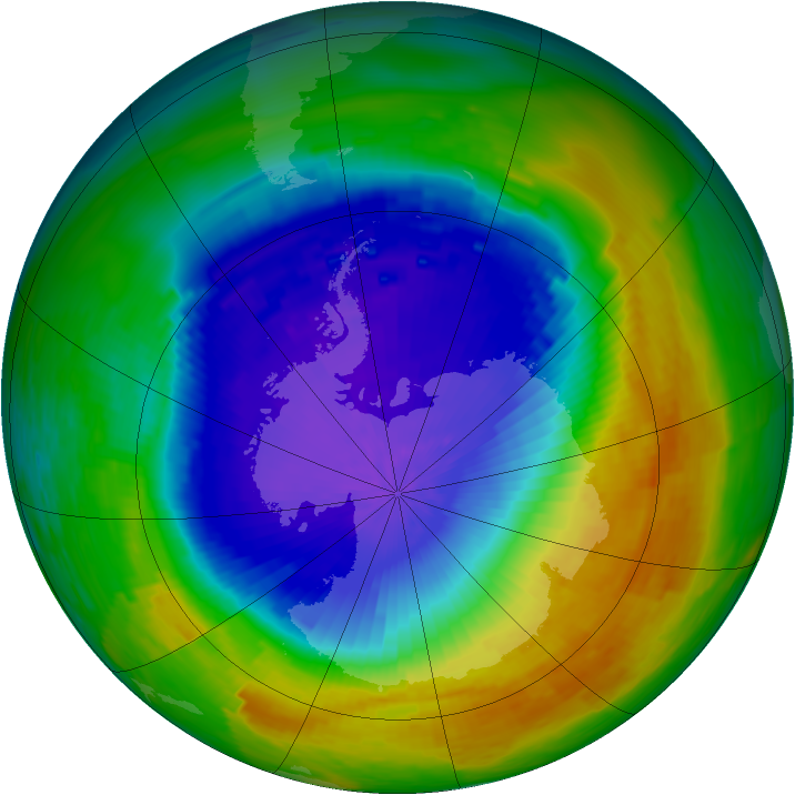 Antarctic ozone map for 01 November 1994