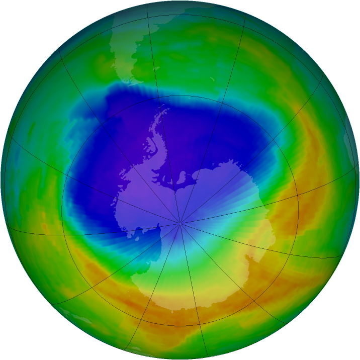 Antarctic ozone map for 04 November 1994