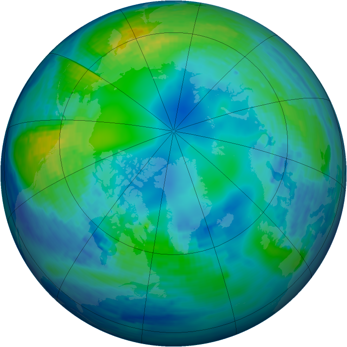 Arctic ozone map for 05 November 1994