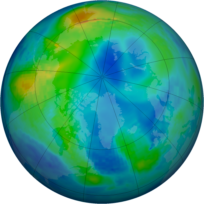 Arctic ozone map for 08 November 1994