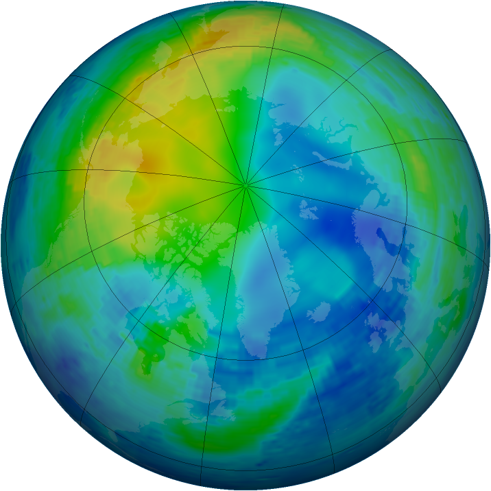 Arctic ozone map for 12 November 1994