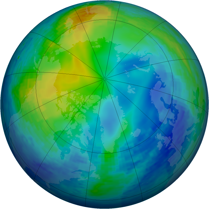 Arctic ozone map for 14 November 1994