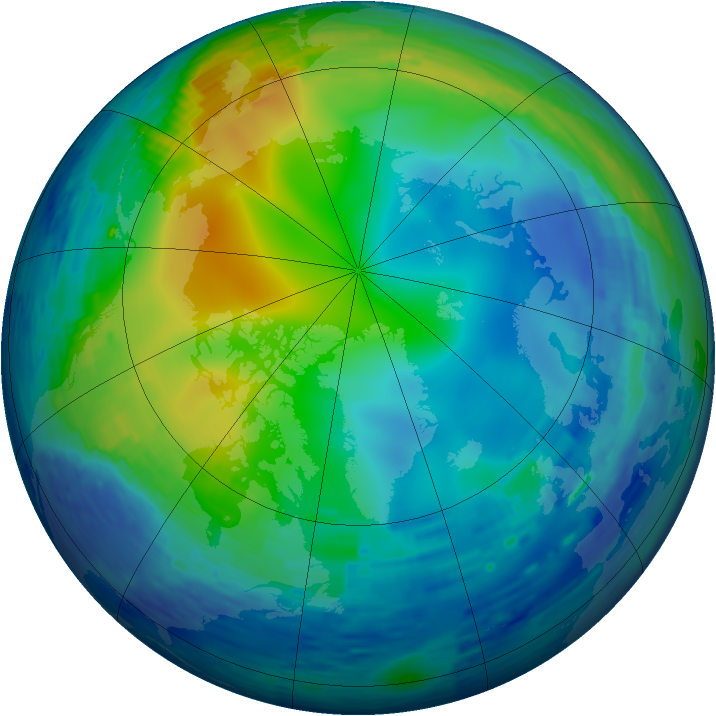 Arctic ozone map for 16 November 1994