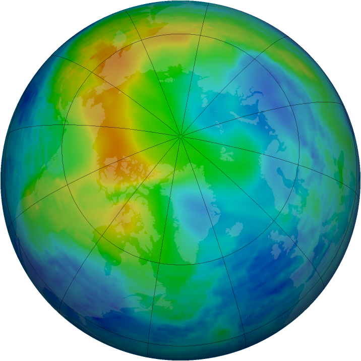 Arctic ozone map for 17 November 1994