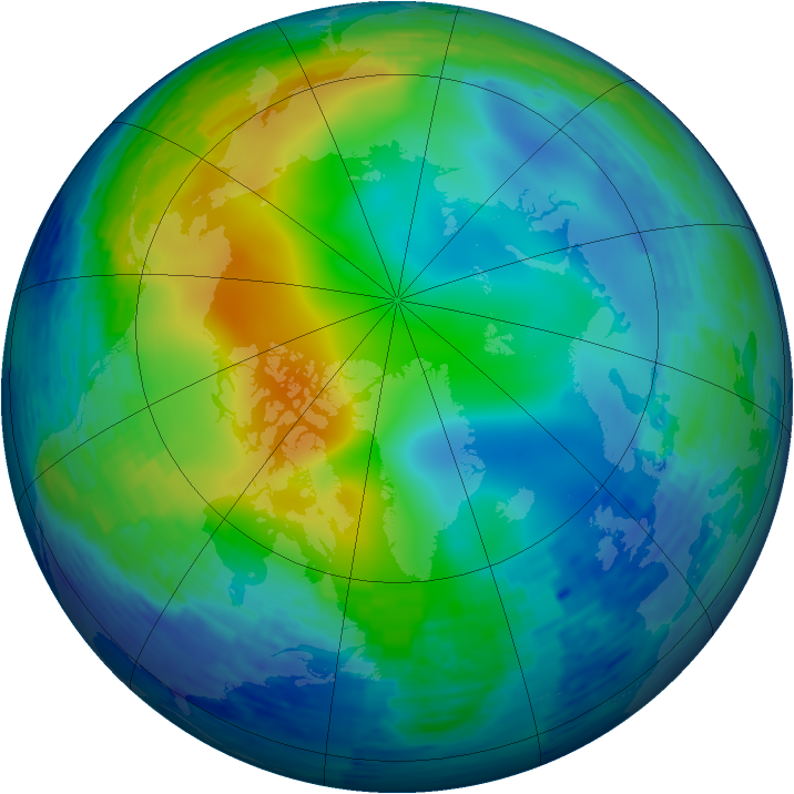 Arctic ozone map for 18 November 1994