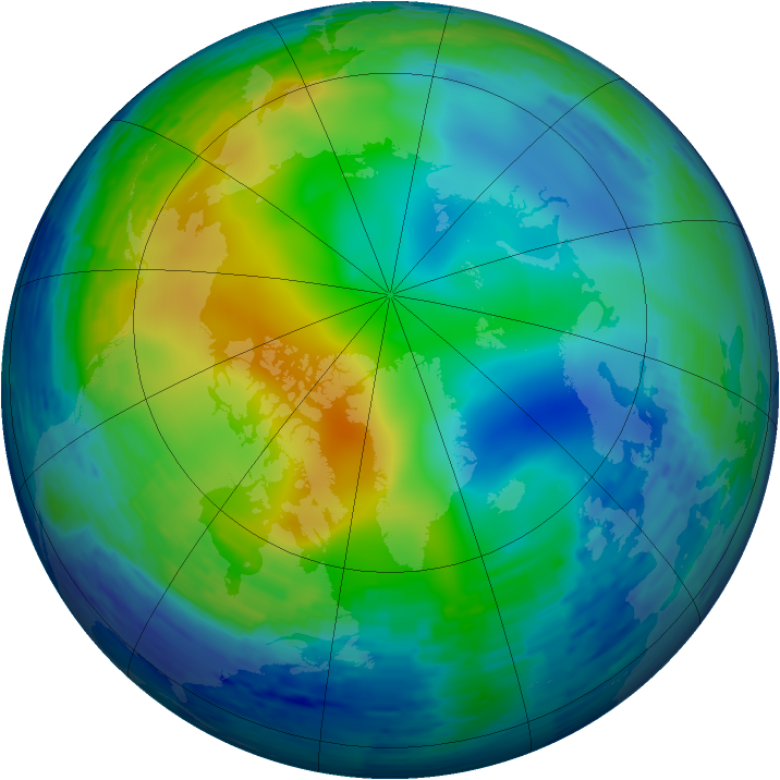 Arctic ozone map for 19 November 1994