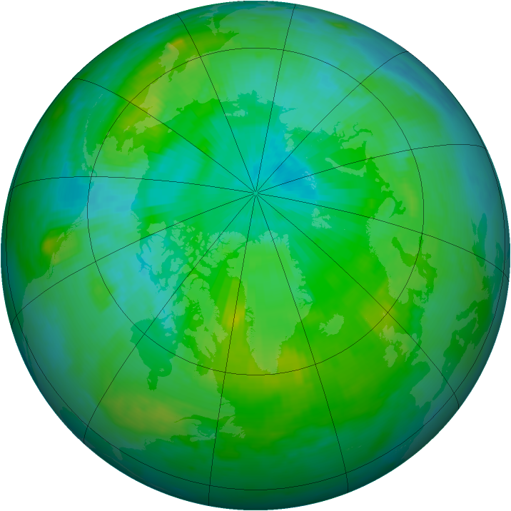 Arctic ozone map for 01 August 1996