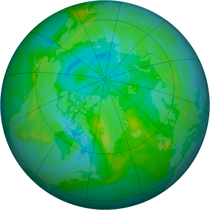 Arctic ozone map for 06 August 1996