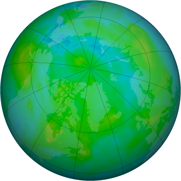 Arctic ozone map for 12 August 1996