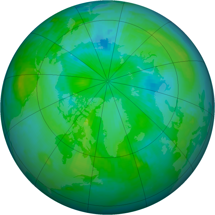 Arctic ozone map for 14 August 1996