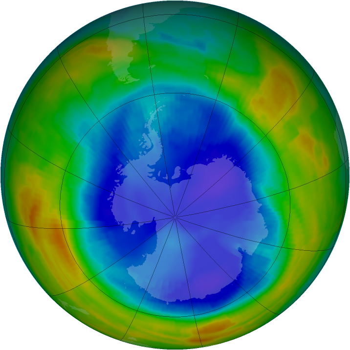 Antarctic ozone map for 24 August 1996