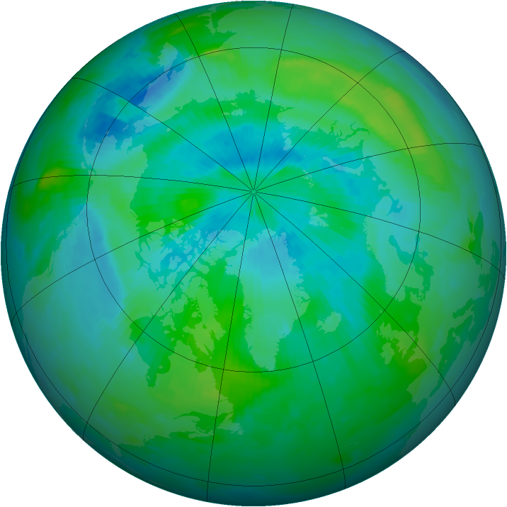 Arctic ozone map for 27 August 1996