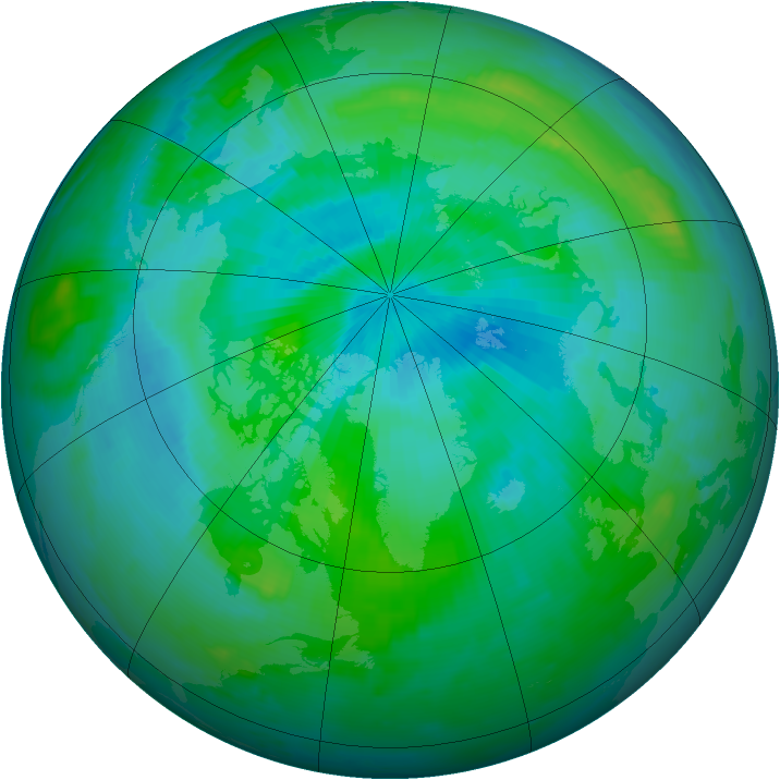 Arctic ozone map for 28 August 1996