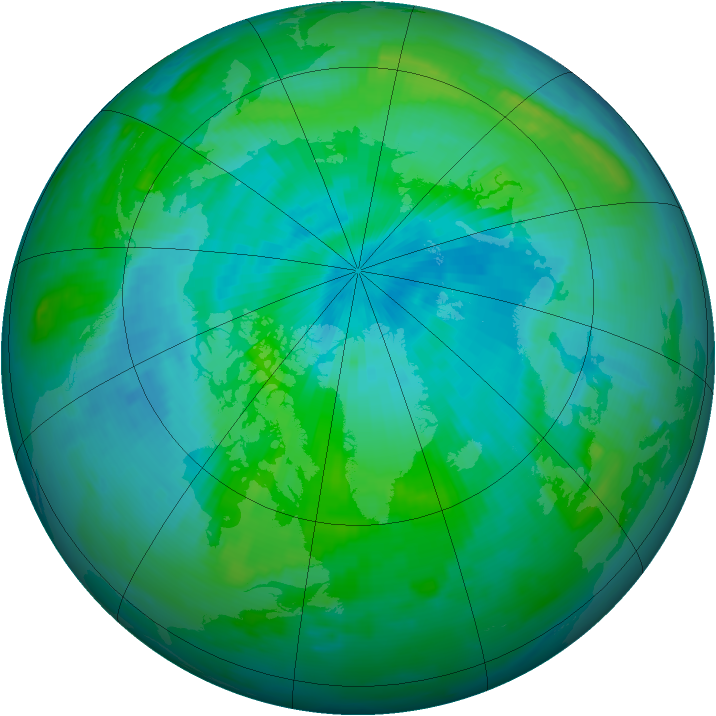 Arctic ozone map for 29 August 1996