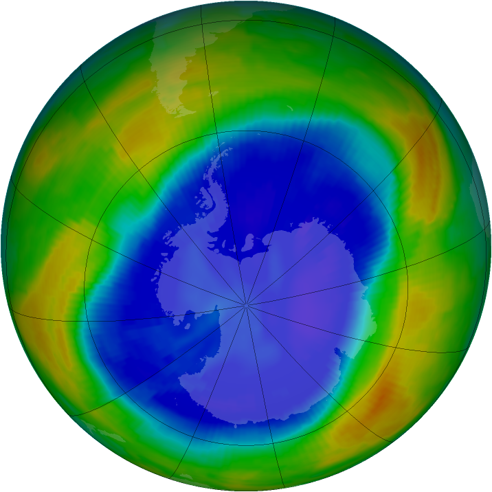 Antarctic ozone map for 01 September 1996