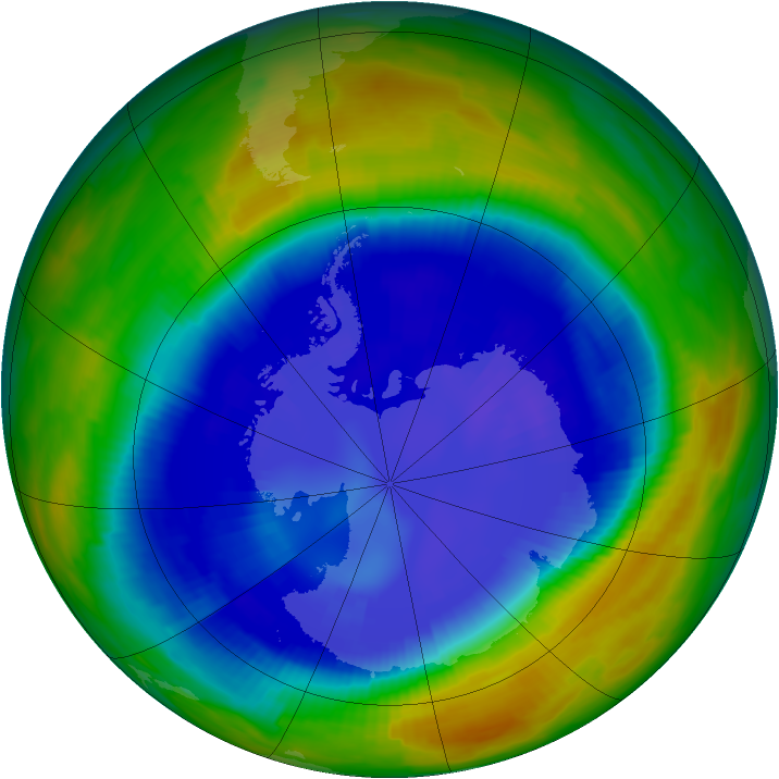 Antarctic ozone map for 03 September 1996
