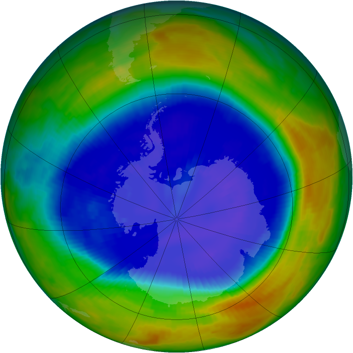 Antarctic ozone map for 05 September 1996