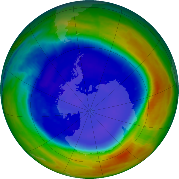 Antarctic ozone map for 07 September 1996