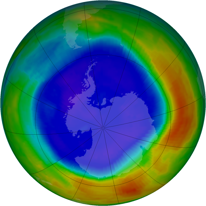 Antarctic ozone map for 08 September 1996