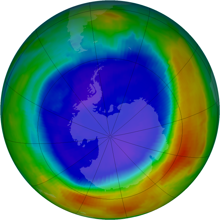 Antarctic ozone map for 09 September 1996