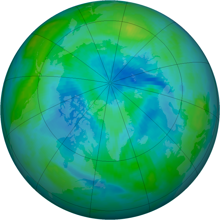 Arctic ozone map for 15 September 1996