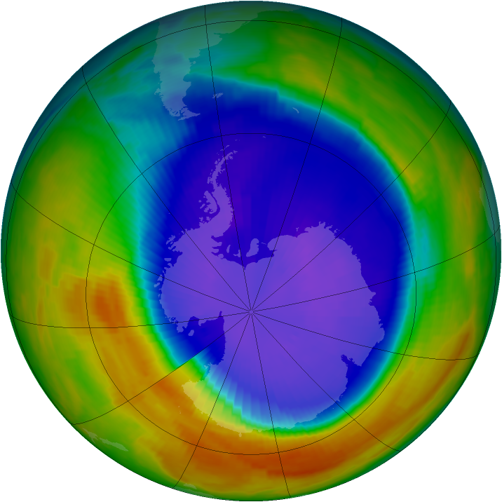 Antarctic ozone map for 17 September 1996