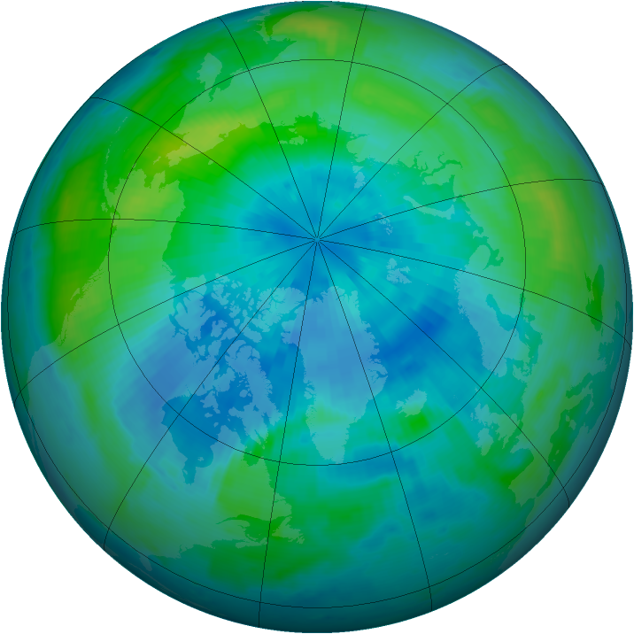 Arctic ozone map for 21 September 1996