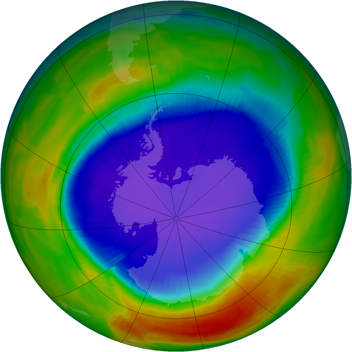 Antarctic ozone map for 21 September 1996