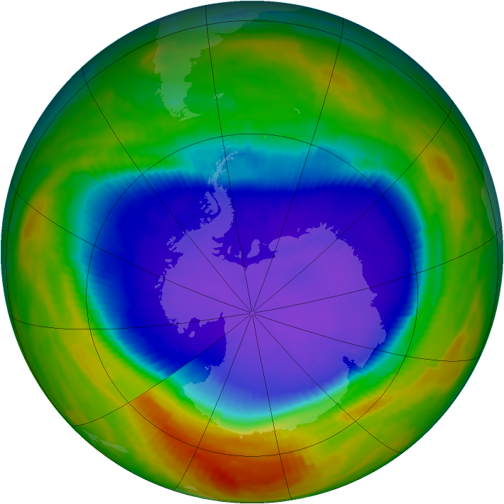 Antarctic ozone map for 24 September 1996