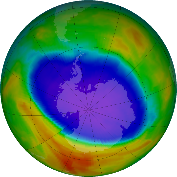 Antarctic ozone map for 26 September 1996