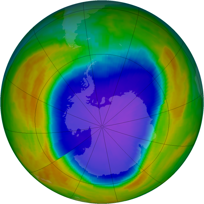 Antarctic ozone map for 29 September 1996