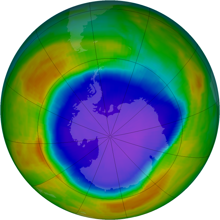 Antarctic ozone map for 30 September 1996