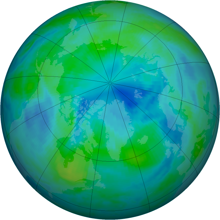 Arctic ozone map for 03 October 1996