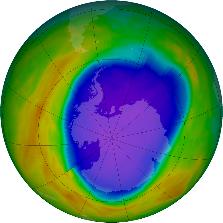Antarctic ozone map for 05 October 1996