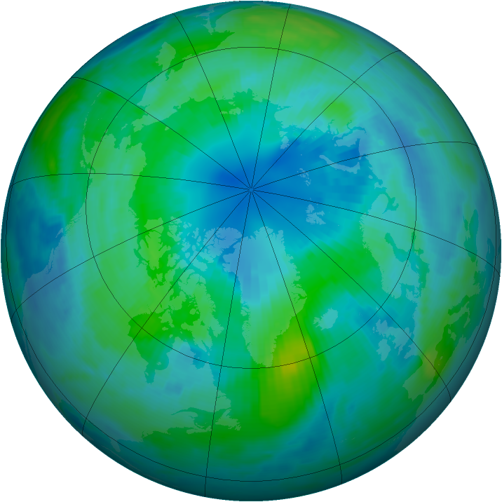 Arctic ozone map for 06 October 1996