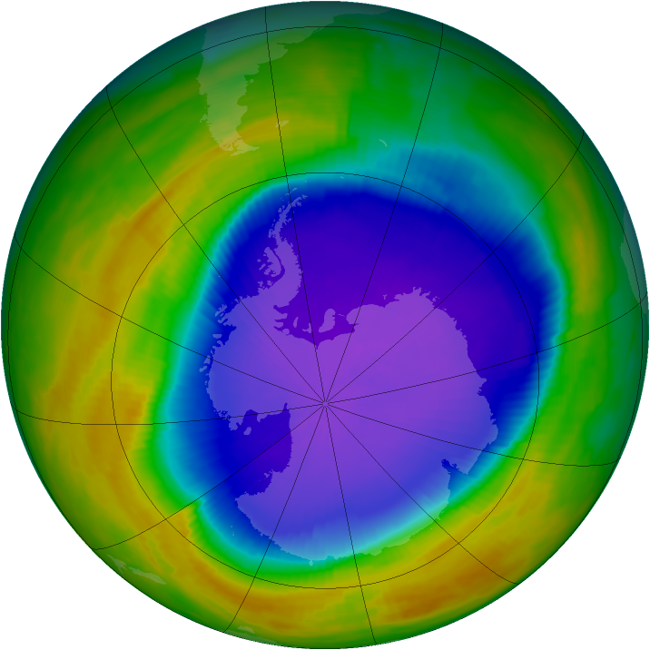 Antarctic ozone map for 06 October 1996