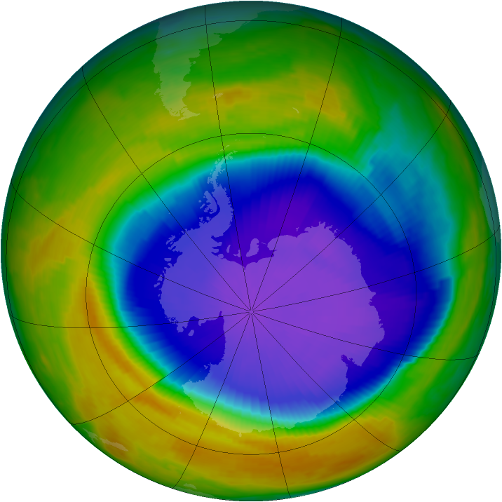Antarctic ozone map for 08 October 1996