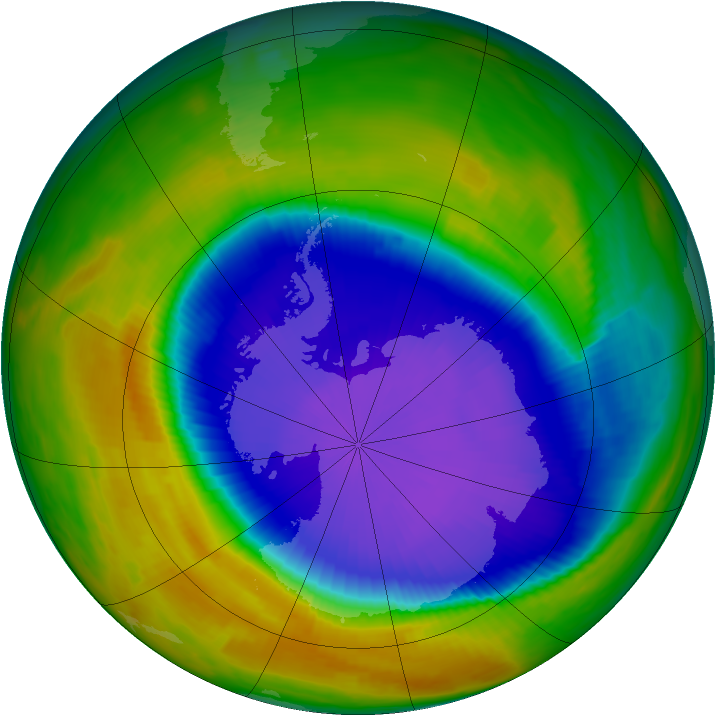 Antarctic ozone map for 09 October 1996