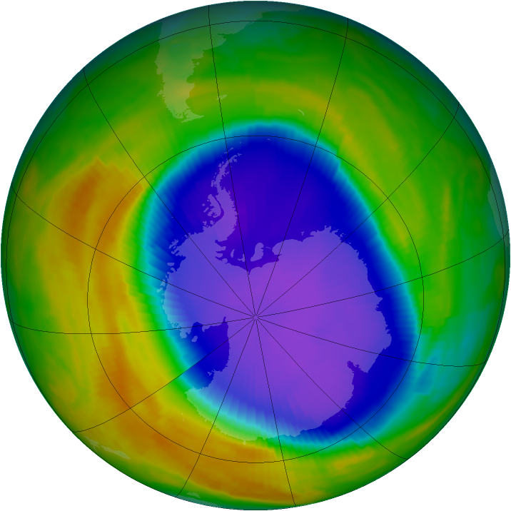 Antarctic ozone map for 10 October 1996