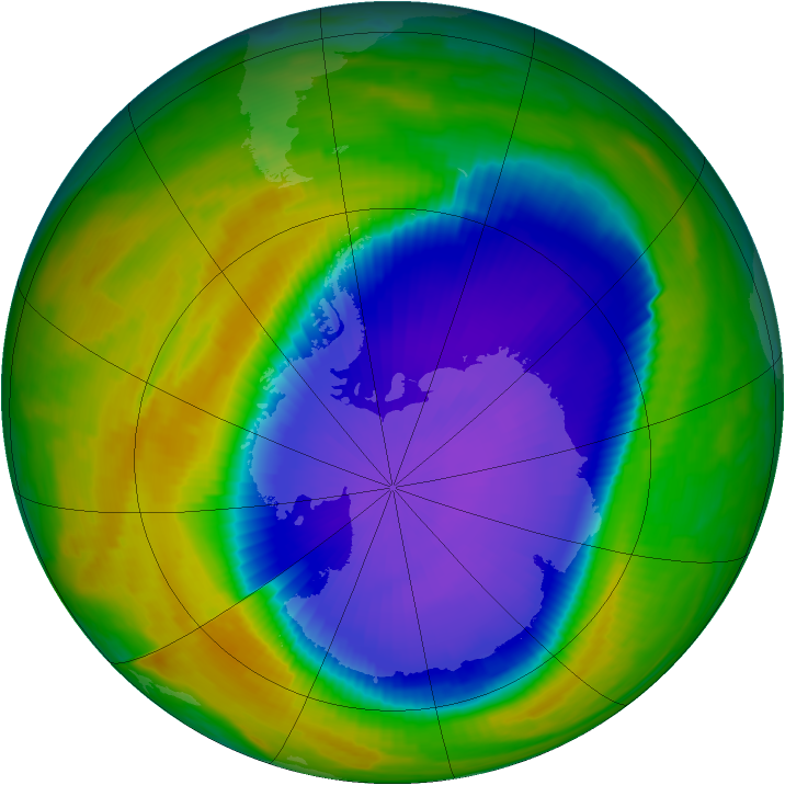 Antarctic ozone map for 12 October 1996