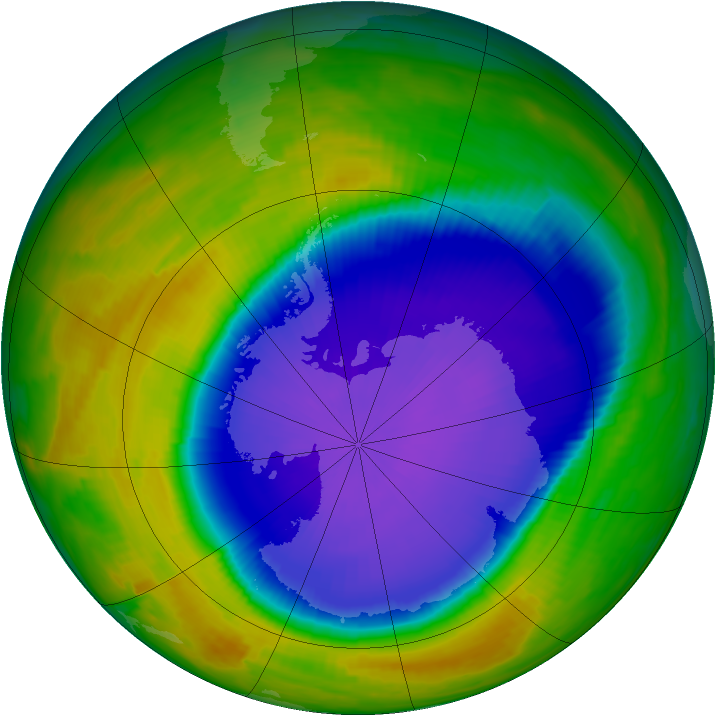 Antarctic ozone map for 13 October 1996