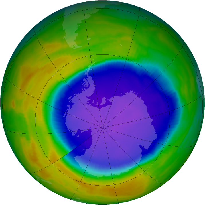 Antarctic ozone map for 14 October 1996