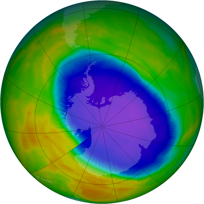Antarctic ozone map for 16 October 1996