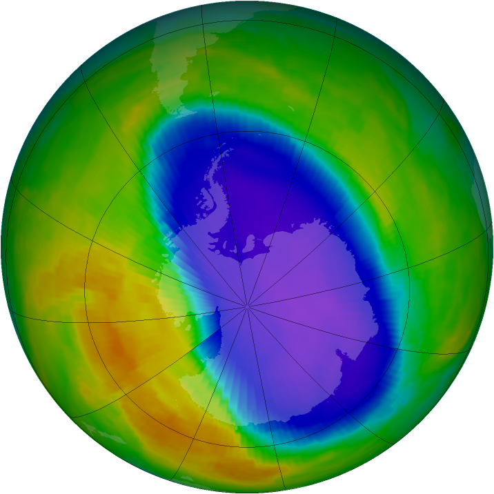 Antarctic ozone map for 17 October 1996